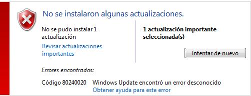 Solución al instalar Windows 10 | Error 80240020