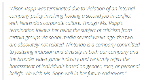 Nintendo spokesperson Alison Rapp released from her position